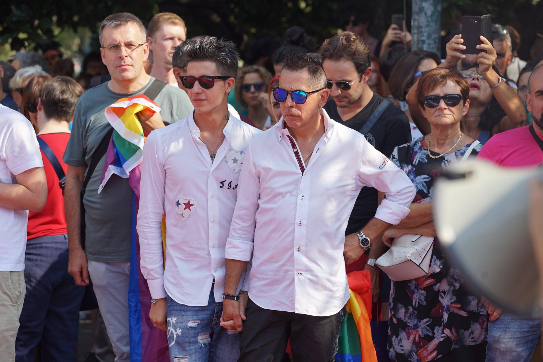 Angelo e Andrea in una manifestazione a Verona (archivio)