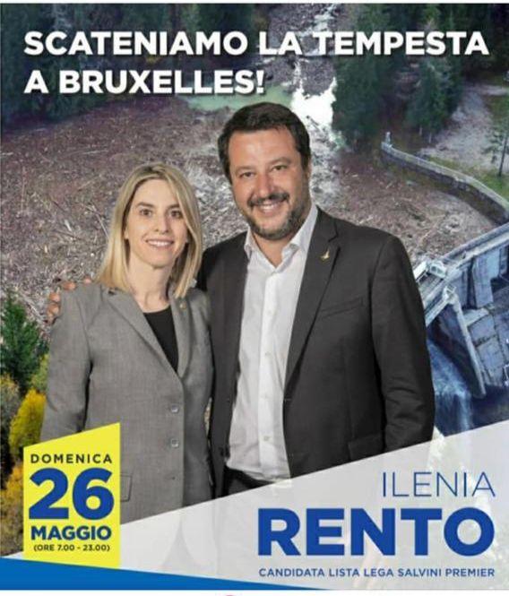 Ilenia Rento con Matteo Salvini nel manifesto elettorale