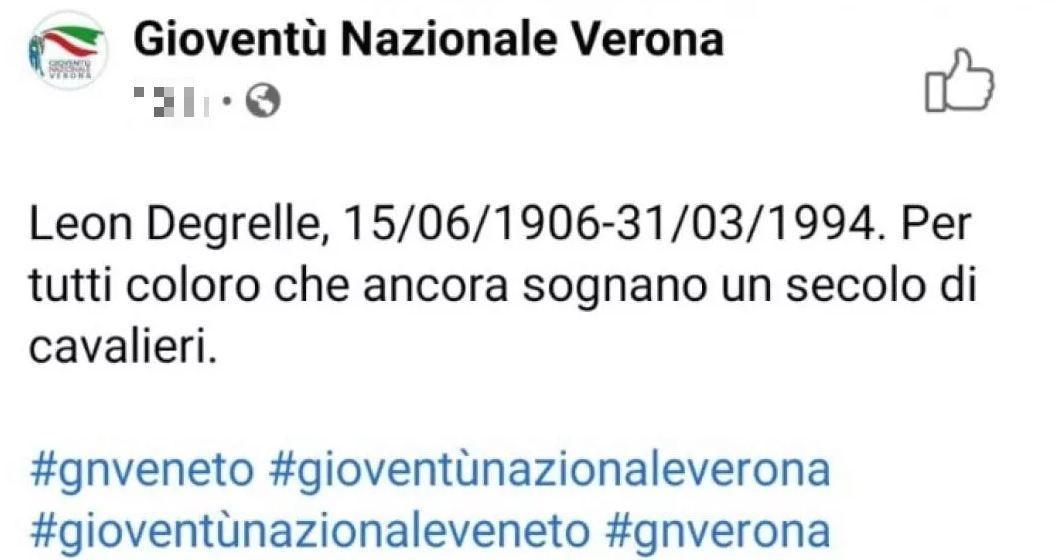 Fratelli d'Italia, i giovani di Verona inneggiano al nazista Degrelle -  CorrieredelVeneto.it